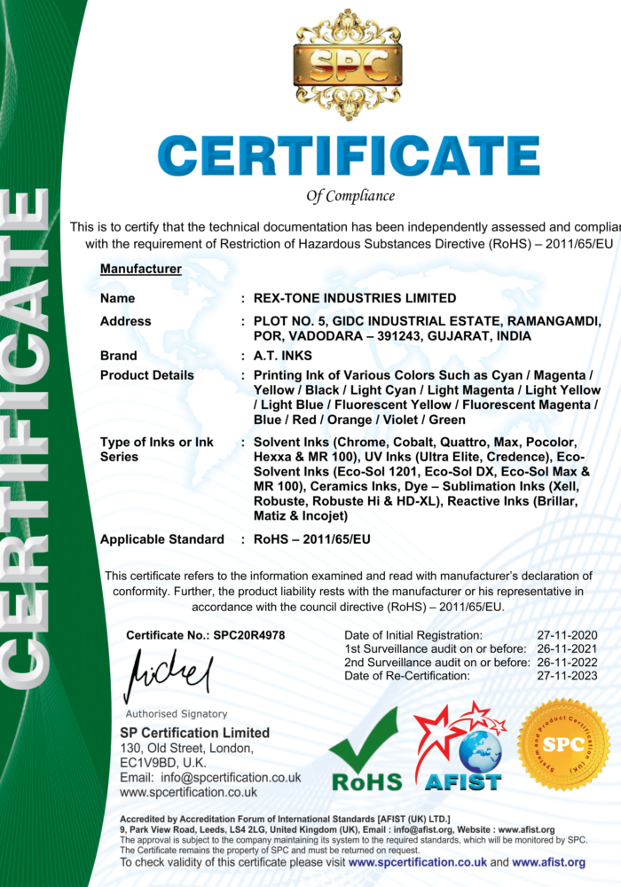 RoHS Certificate - A.T. Inks-1